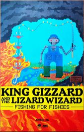 King Gizzard The Lizard Wizard Fishing For Fishies Ltd Ed New Rare Tour Poster Lizard Tour Posters Wizard