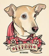 Pet portrait. RETROCRIX. Tattoo dog portrait, Dog tattoo, Pet Illustration, Trad…   – If I Had More Money