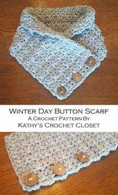 Crochet Scarf PATTERN – Winter Day Button Scarf – DIY Crochet Scarf –  Button Cowl Pattern – Easy Crochet Scarf Pattern – DIY Circle Scarf