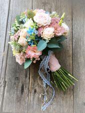 Brautstrauß rosa blau, bouquet blue, Hochzeit, Blumen – Brautstrauß