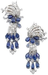 Glorious cool-colored earrings by Cartier.