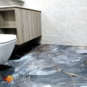 Naturstein Metallic Epoxy Badezimmerboden Design Designer Designs Designlife Shoes Epoxying In 2020 Bathroom Flooring Floor Design Metal