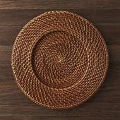 Artesia Honey Rattan Charger Plate + Reviews | Crate and Barrel