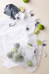 Paquet de eight sacs à fruits et légumes en filet recyclé Ever Eco