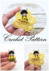 Itsy Bitsy Teeny Weeny Yellow Crochet Bee  – Basteln