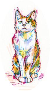 'Cat drawing – 2011' Sticker by Gwenn Seemel