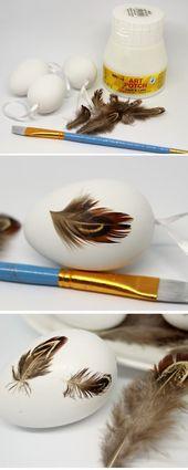 DIY Ostereier mit Federn bekleben – schnelle Osterdeko selber machen