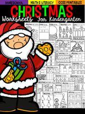 Weihnachten Mathe und Alphabetisierung Arbeitsblätter und Ausdrucke für den Kindergarten – Preschool/Kindergarten