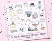 22 Girl Boss Clipart Set, Fashion Illustration, Watercolor Clipart, Office Planner, Hand Drawn, Stic