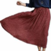 Maxi Skirts Plus Size With Pockets 40% Linen Two Layers Long Skirts Elastic Waist Wine Green Navy Blue Jupe Longue Femme  – SKIRTS