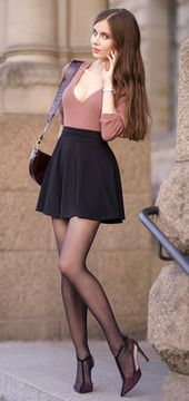 Pink blouse, flared mini, black tights and burgundy high heels