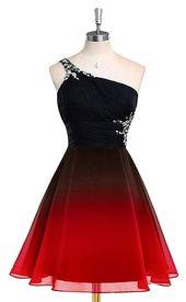 Ein Schulter Farbverlauf Chiffon kurzes Abendkleid, Perlen Heimkehr Kleid