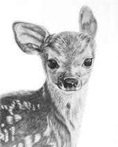 Kitz Bleistift Zeichnung Giclée Print Baby Hirsch Baby Tiere Hirsch Zeichnung Wildlife Art Home Decor Wand Dekor Wand Kunst Fine Art Baby Kinderzimmer Kunst   – Kunst