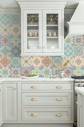 Vinyl decal self-adhesive Portuguese sticker tiles backsplash stair riser Decoration BELEM set kitchen bathroom (Pack 12) (6″x6″|15×15 cm)