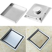 Photo of 304 Stainless Steel Invisible Bathroom Waste Strainer Square Shower Floor Drain