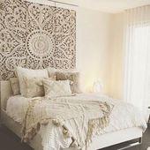 """71 """"große Wandkunst King Size Bett Skulptur böhmischen Kopfteil dekorative Blume Mandala…"""