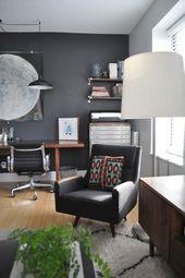 25 Amazing Moody Mid Century Home-Office-Deko-Ideen