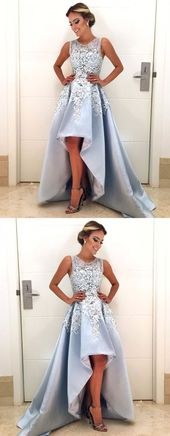 light blue satin high low prom dresses 2018 elegant evening gown lace embroidery PD20190358