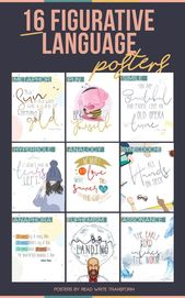 16 Figurative Language Posters for Center and Excessive Faculty Classroom