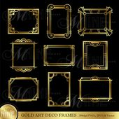 Gold ART DECO FRAME Clip Artwork: Artwork Déco Frames Design Parts Deco Borders Clipart, Téléchargement instantané