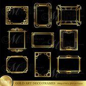 Gold ART DECO FRAME Clip Artwork: Artwork Déco Frames Design Parts Deco Borders Clipart, Téléchargement instantané
