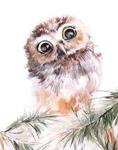 Owl Nursery Forest Fine Art Print, Owl Watercolor Painting Art, Owl Wall Art Print by CanotStop Painting, Bird Giclee Wall Print