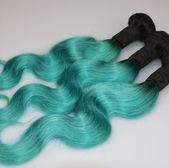 Green Brazilian Human Hair Wefts T Color 1B/Green Body Wave