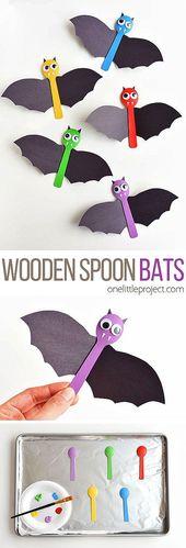 ¡Esta artesanía de palo de cuchara de madera para Halloween es muy divertida! Es rápido y simple …
