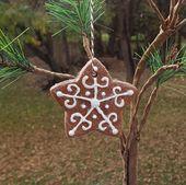 Star Gingerbread Cookie Salt Dough Christmas Tree Ornament Handmade