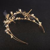 Gold Dragonfly Baroque Wedding Tiara Bridal Vintage Cosplay Crown