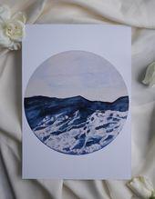 Das Unruhige Meer • Print Aquarell Bild, Meer, Ocean, Aquarell Malerei, Gouache, Geschenkidee, Rundes Bild, Meer Kunst, Surfen, Ostern