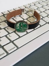 Techie Jewelry, Upcycled Circuit Board Leather Bracelet, Wearable Technology, Recycled, Handcrafted Jewelry