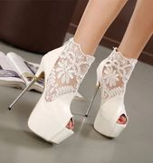 Plataforma de encaje Tacón de aguja Sandalias de tacón alto con cremallera abierta   – Shoes