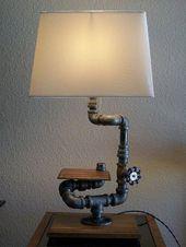 Industrial Table Desk Black Pipe and Hardwood by Splinterwerx, $230.00 #Pipelamp