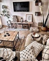 Un salon aux tons sables et imprimés graphiques : une jolie version du style bohème 🌾