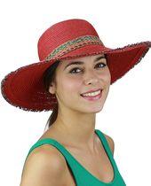 C.C. mehrfarbig gewebtes Band und Fransenrand Sommer Strand Floppy Sonnenhut, rot  – Hat Collection
