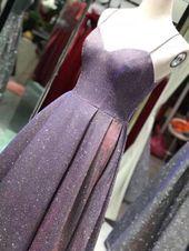 Spaghetti straps sparkly mauve prom dress starry pink evening dress cg3786 – Prom❤️