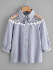 Flower Lace Insert Shirt