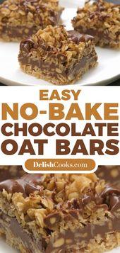 Einfache No-Bake-Schoko-Hafer-Riegel #dessert #chocolate #easy