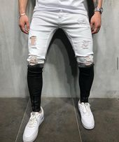 MENS STREET STYLE BLACK & WHITE JEANS RIPPED 4548 – Men's Street Style Pants