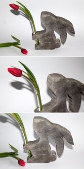 DIY gypsum / concrete hare vase just do it yourself – beautiful Easter decoration!