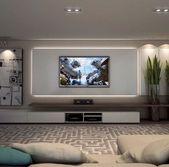 Idées de salon inspirées pour les murs de télévision (45 #fernsehwande #inspired #w