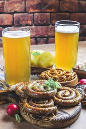 Meal for the Munich Oktoberfest with sausages and beer  Stock Photo  #ad #Okt