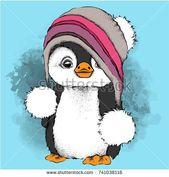 ein Cartoon-Pinguin in einem Hut. Charakter für Weihnachten und Silvester Design. Vektor-Illustration – #cartoon #CartoonPinguin #Charakter #DESIGN