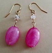 Pink Morganite and Herkimer Diamond Earrings