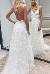 White Lace Backless A-Line Sweetheart Spaghetti Straps Wedding Dresses