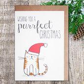 Cat Christmas card – Wishing you a purrfect Christmas
