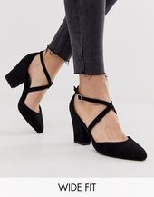 New Look Wide Fit strappy heeled shoes in black