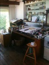 Illustrator Workspace Ralph Steadman's studio, with a boid on the drawing board (BB)