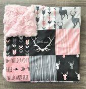 Woodland Minky Decke   Baby-Decke   Lovey Decke   Rosa Babydecke   Baby Geschenk   Hirsch Babydecke   Woodland Babydecke   – Boho nursery